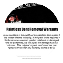 Dent removal lifetime warranty