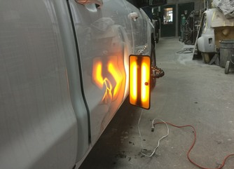 Truck Dent Repair- Door Dent Removal - With the light