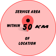 Services area within 50 Km of location